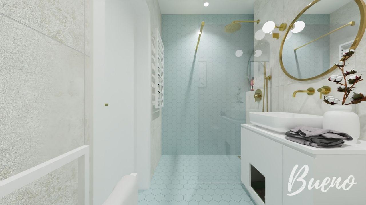 łazienka z płytakami w kształcie heksagonu