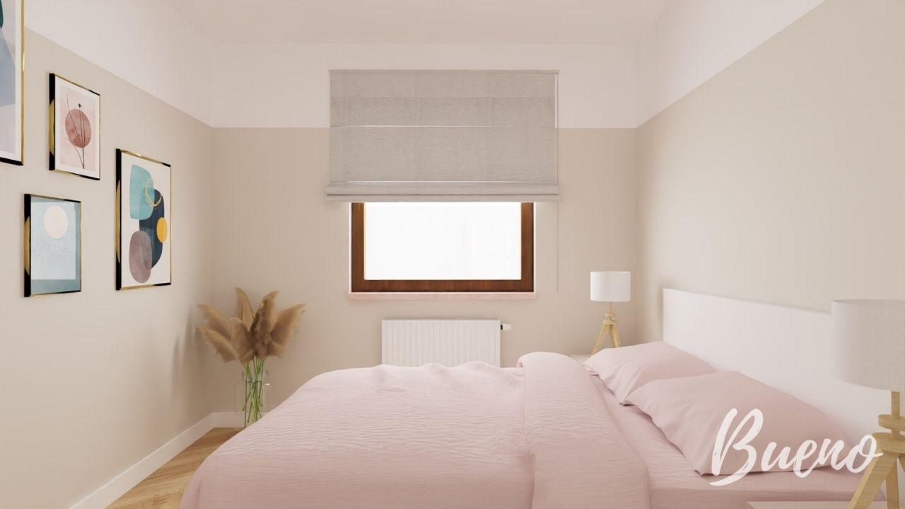Sypialnia w kolorze brudnego różu