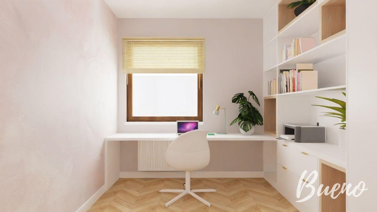 domowe biuro, gabinet, różowy
