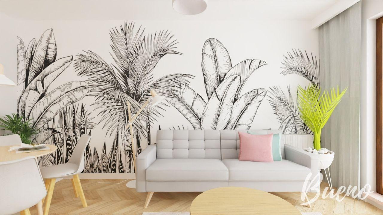 salon z aneksem z malowaną ścianą