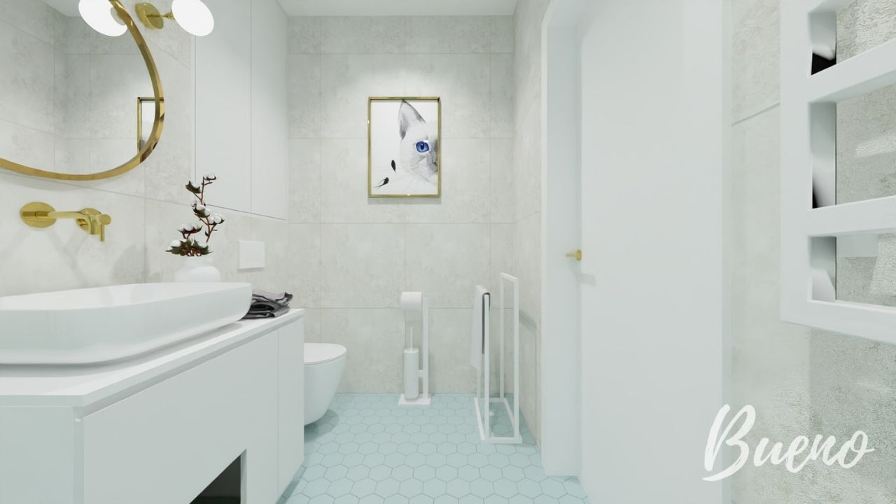 łazienka w pastelowych kolorach