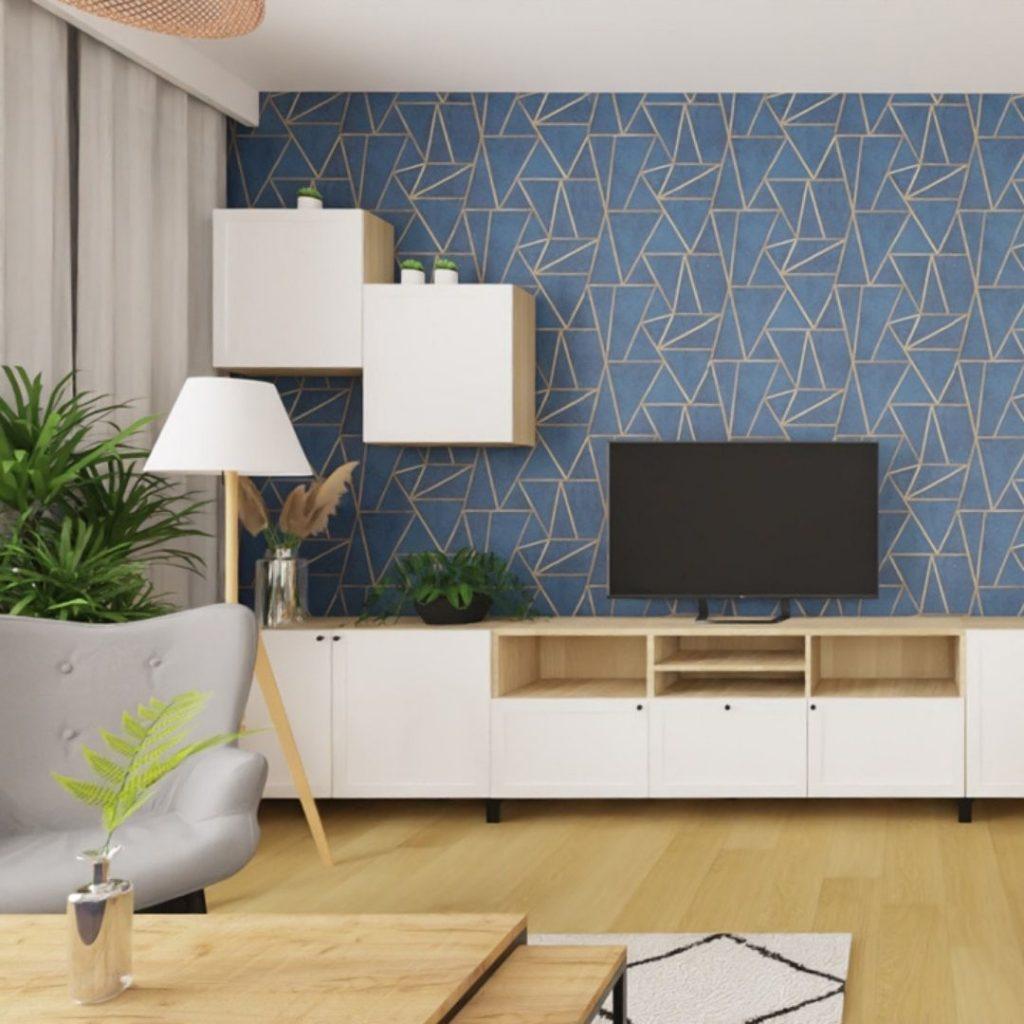 Salon z tapetą granatowa ze złotymi geometrycznymi wzorami