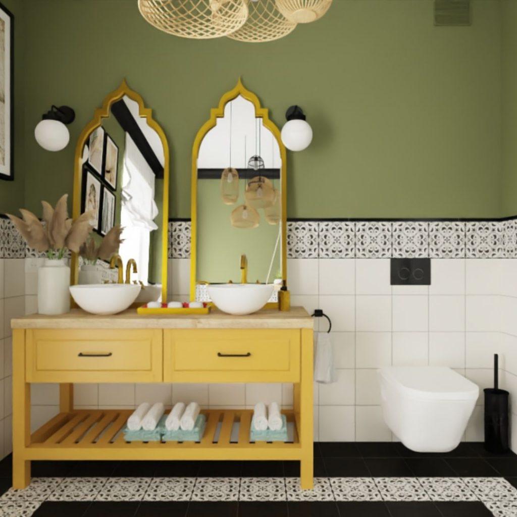 żółta szafka łazienkowa, zielone sciany, styl marokański