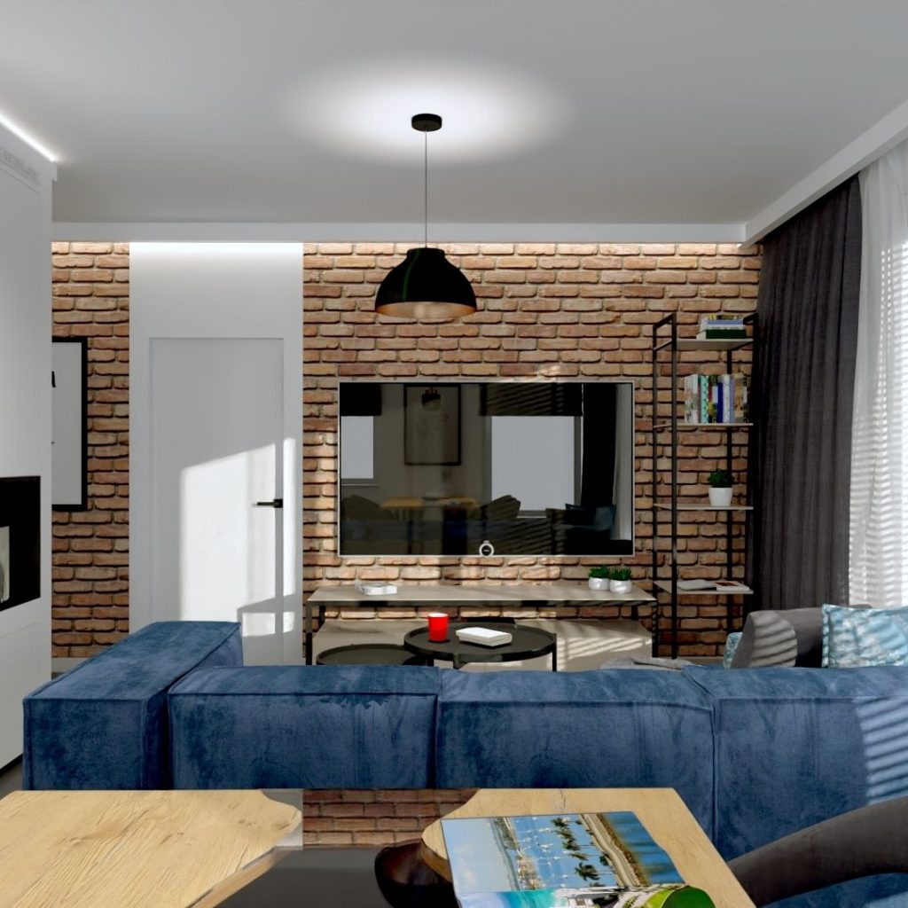 salon z cegłą i granatową sofą
