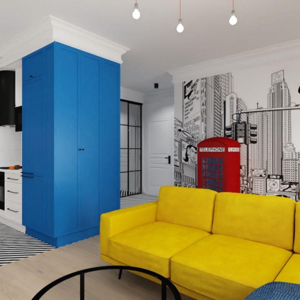 Salon w stylu pop art, niebieski, żółty, czerwony