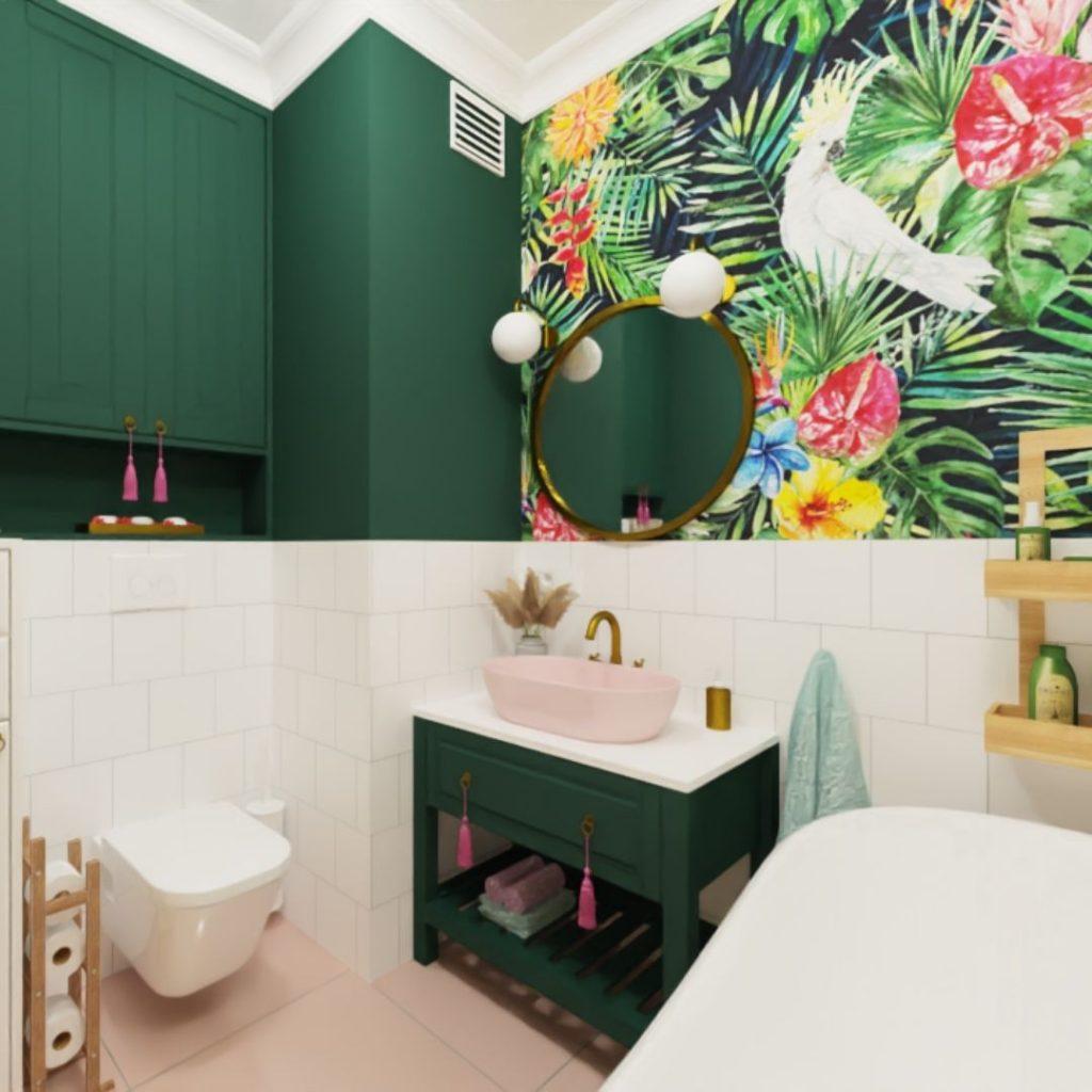 łazienka z zielonymi scianami, farba, tapeta w papugi, różowa umywalka