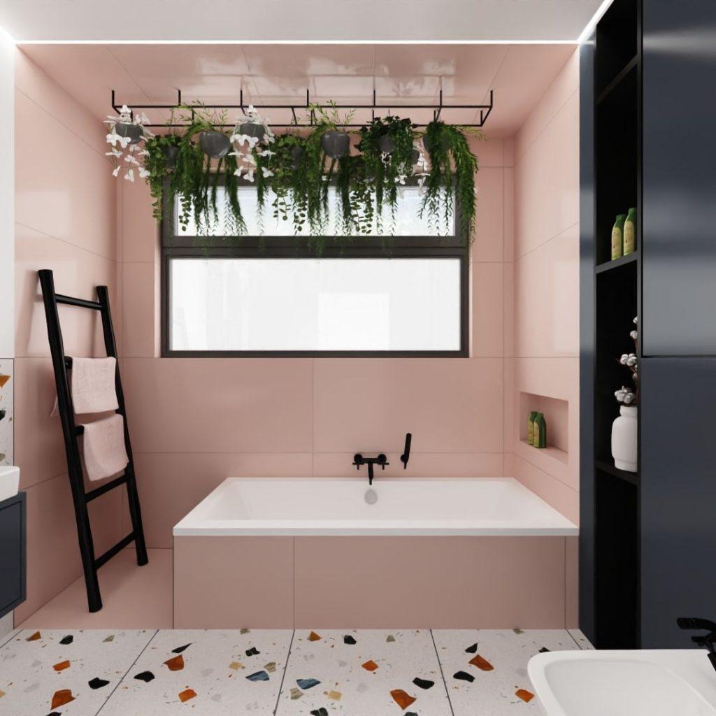 łazienka z różowymi płytkami Tubądzin Monolith, arcana lastriko, straciatella