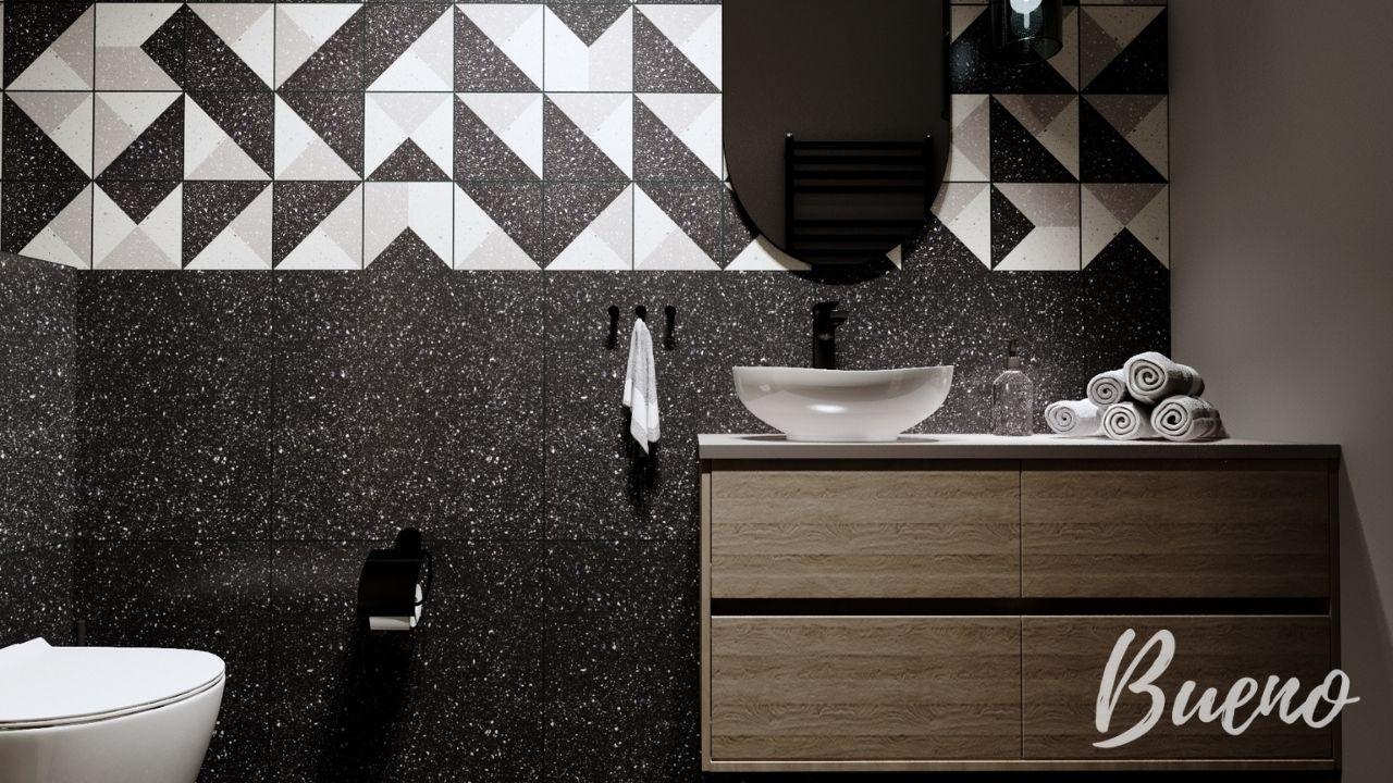 czarno-biała łazienka, geometryczne kafle