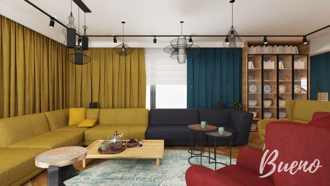Salon sofa musztardowa narożnik bordowy fotel