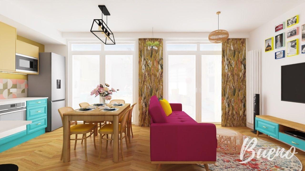 artystyczny salon, boho, sofa w kolorze fuksji, drewniany stół