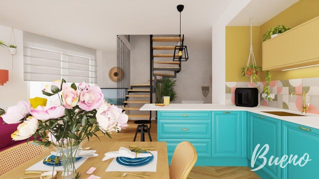 artystyczny salon, turkusowe meble kuchenne