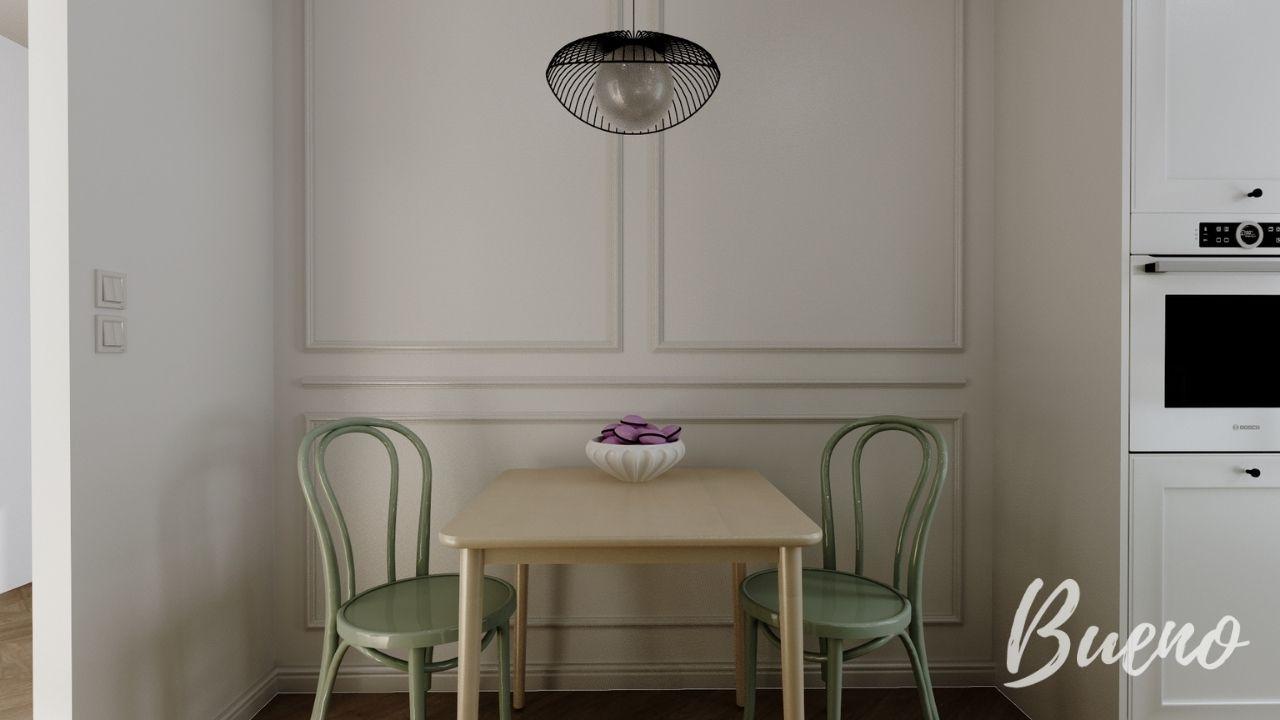 retro krzesła w kolorze miętowym, sztukateria na scianie