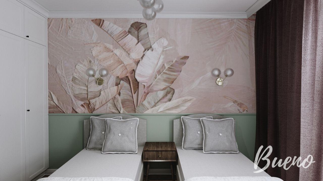 sypialnia z tapetą w liscie