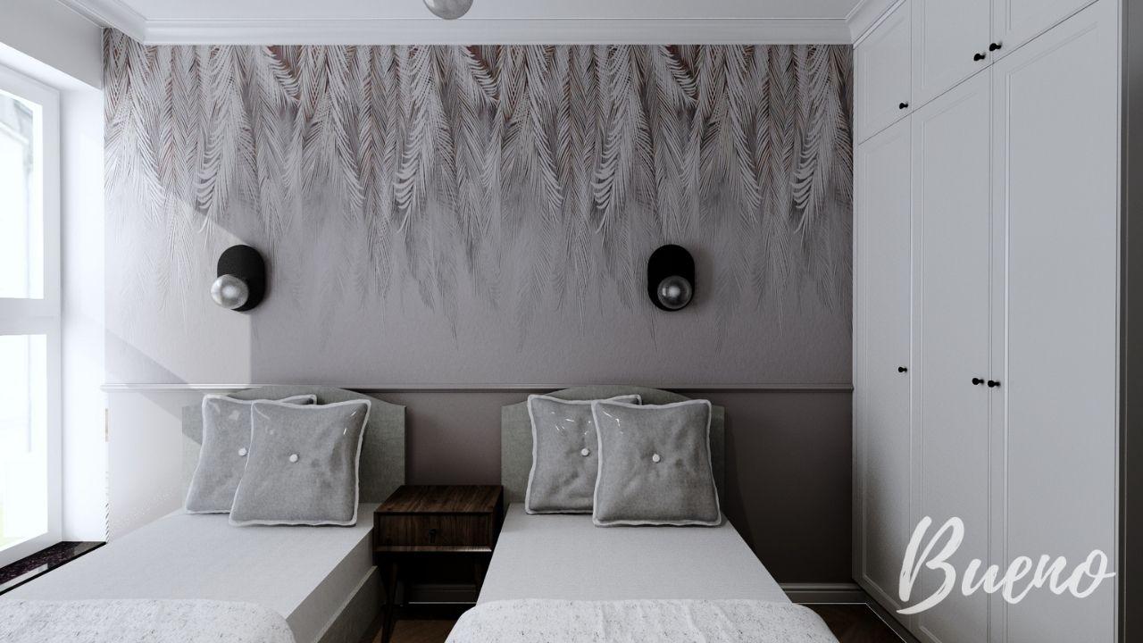 sypialnia z tapetą boho