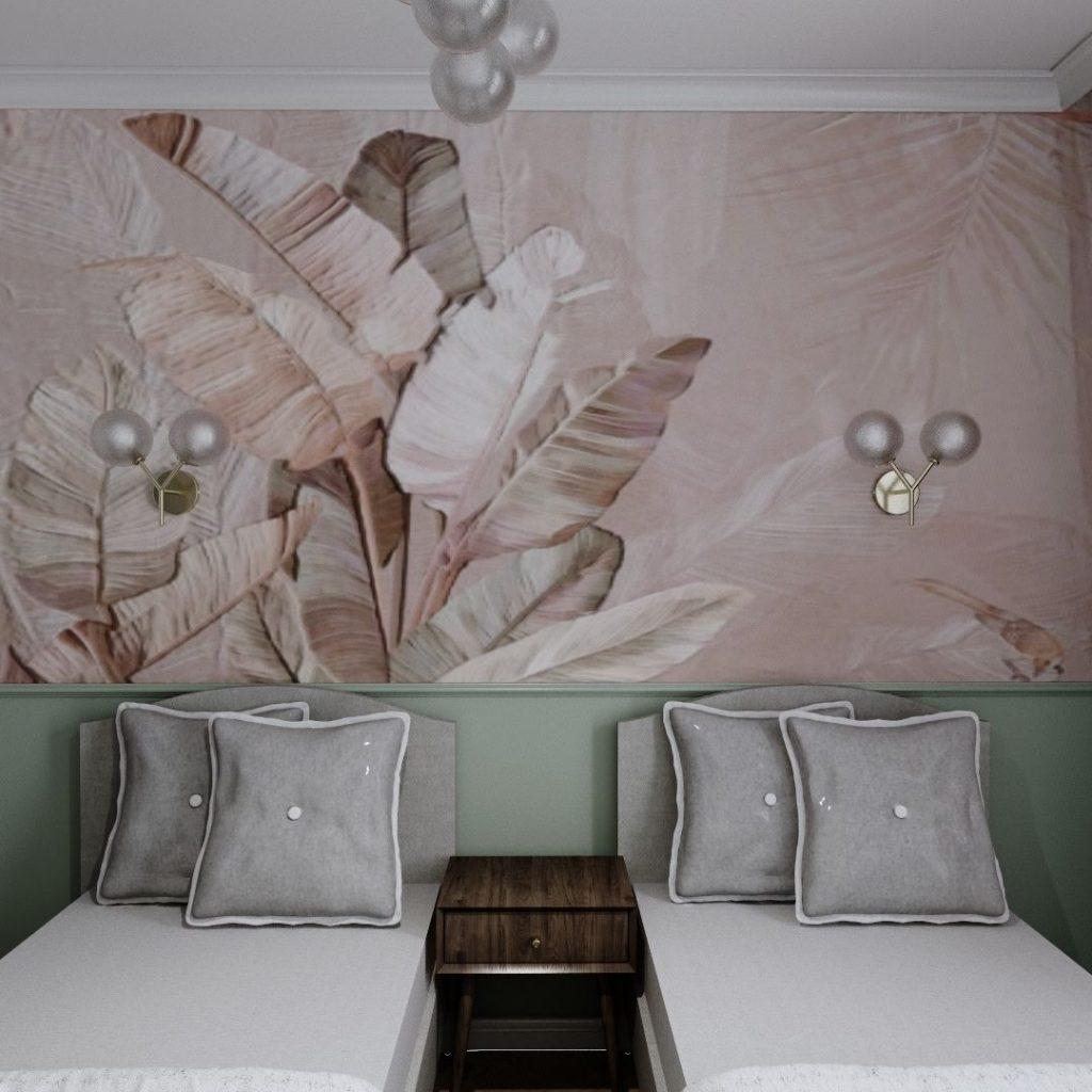 sypialnia z tapetą w różowe liscie boho